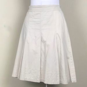 CAbi Pleated Light Khaki Tan Midi Skirt Size 8